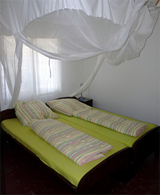 One of the double beds in our guesthouse